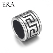 4pcs Stainless Steel Drum Bead Charms 5mm 8mm Large Hole for Leather Jewelry Bracelet Making Metal Beads DIY Supplies Parts
