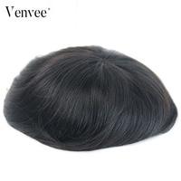 Hair Toupee Men Natural Looking Mono System 100% European Human Hair Mens Toupee PU Replacement System VenVee Remy Hair