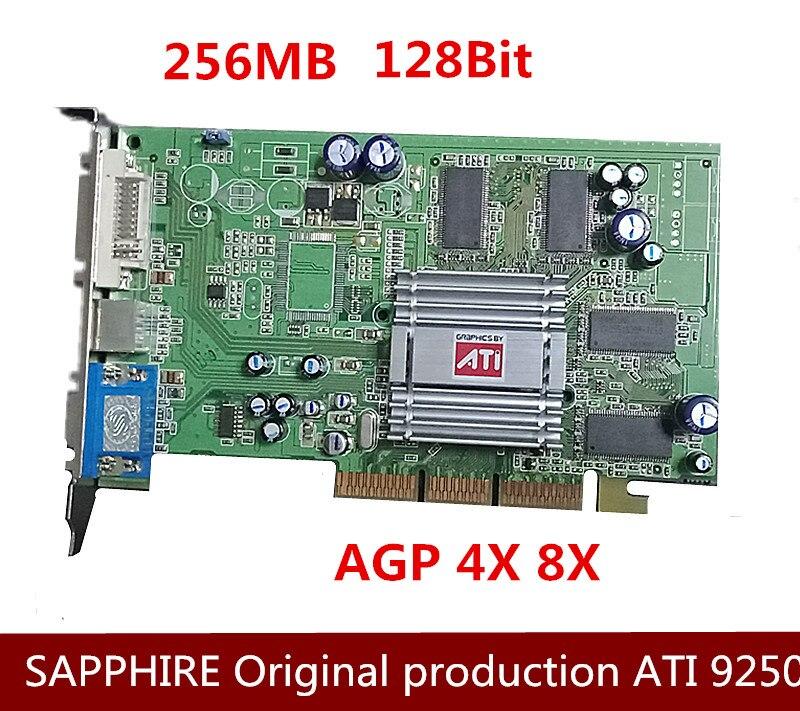 Nouvelle carte vidéo AGP originale ATI Radeon 9250 256 M édition muet Compatible avec la carte mère AGP8X et 4X