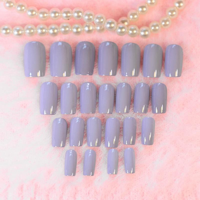 Women Ginger Fake Long Nails Taro color Nail Art Full Tips Curve ...