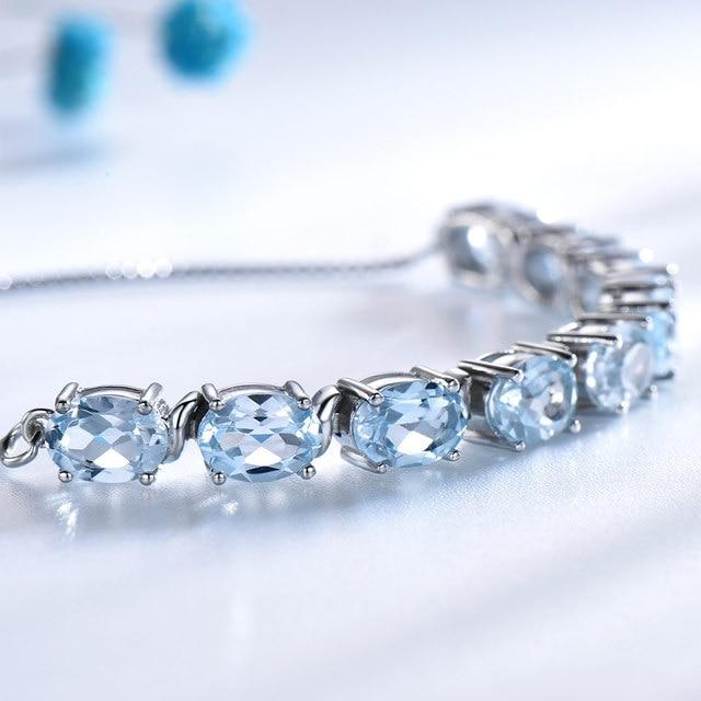Bracelet Pierres Topaze Bleu Porte-Bonheur