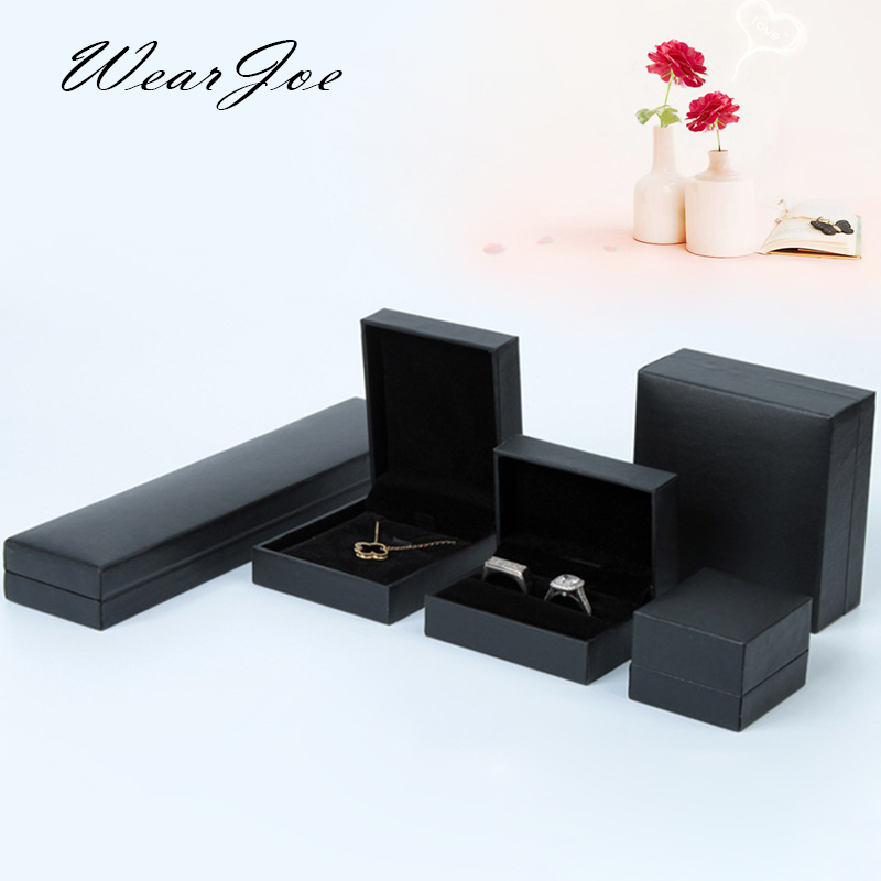 1 Vintage Black Leatherette Paper Jewelry Display Box 5 Style Ring Pendant Bangle Bracelet Pendant Storage & Package Stand Case