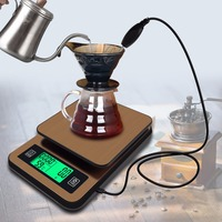 High precision LCD Timing Hand washed Coffee Electronic Scale with Probe Digital Kitchen Scale Portable Food Weight 1KG / 0.1g