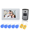 (1 set) 7 inch wired home video intercom night visible access control door intercom RFID card unlock video door phone bell
