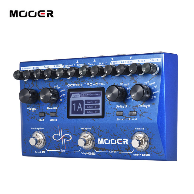 MOOER OCEAN MACHINE Premium Dual Delay + Reverb + Looper Multi effects Pedal 15 Types of Delay Effects 9 Reverb Effects