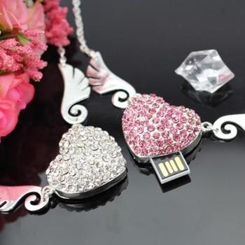Pink Silver Lovery Gift Heart Memoria Usb Flash Drive 64GB USB Stick Key 2.0 Flash Card Pen Drive 32GB Pendrive 1TB 2TB Gift