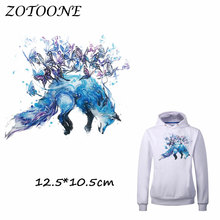 ZOTOONE Watercolor Flower Wolf Iron on Transfer Patches for Clothing T Shirt Beaded Applique Clothes DIY Accessory Decoration C раковина laguraty 0001k белая