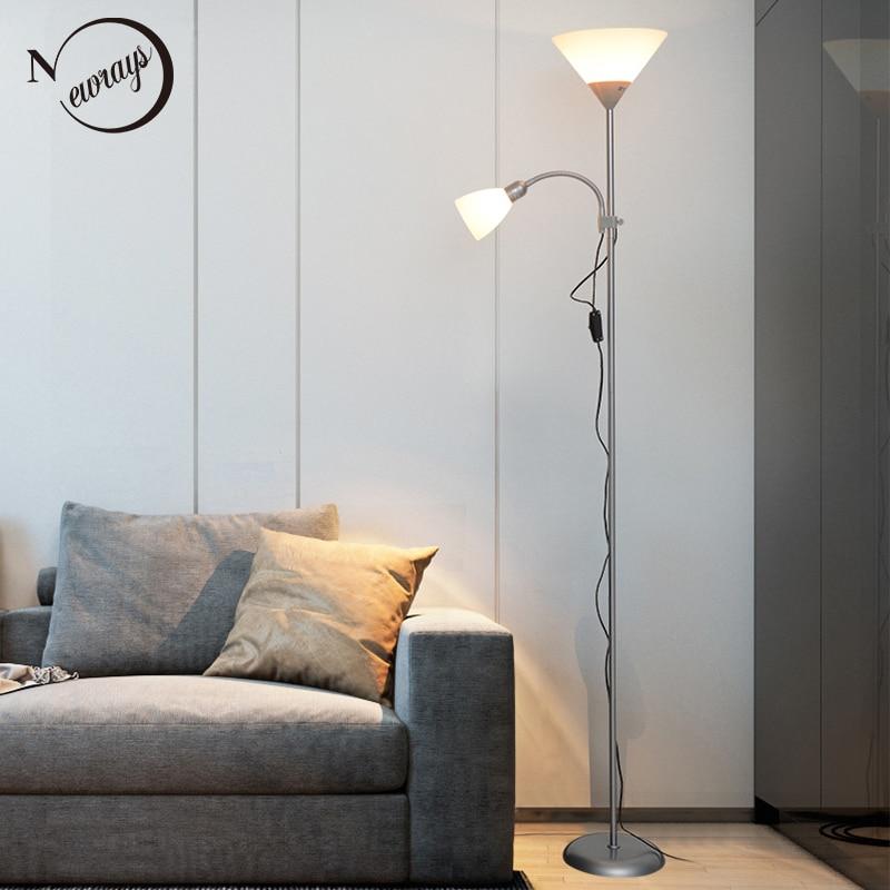 Modern design nórdico 2 luzes Iluminação Do Hotel Lâmpada de Assoalho noite estande Sala ajustável E27 LEVOU AC 110 v 220 v Para O Quarto casa
