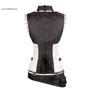 Image 3 - Charmian المرأة حجم كبير Steampunk مشد الأبيض الصلب الجوفاء النهضة خمر مشدات القوطية و المشدات مربوط أعلى