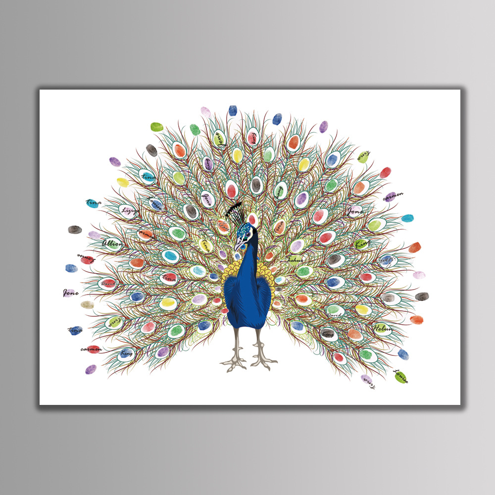 Creative Customized Peacock Canvas Wedding Babyshower Graduation Fingerprint Tree Signature Guest Book Painting With Ink Pad