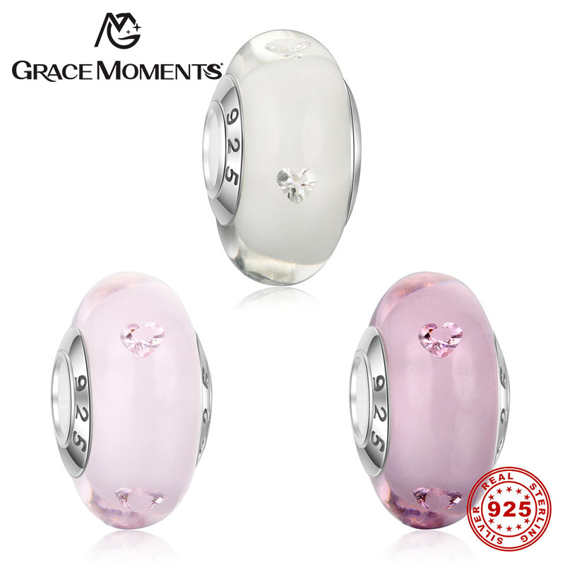 GRACE MOMENTS 925 Sterling Silver Pure Pink Heart Bubble Glass Charm Murano Glass Beads fit Charm Bracelet Silver Jewelry