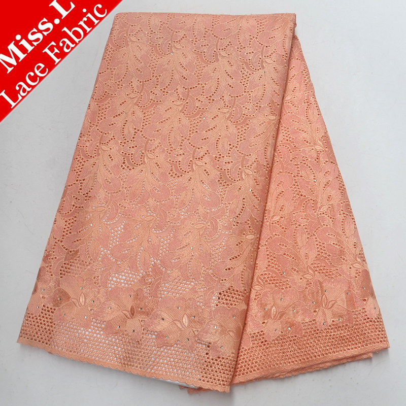 High Quality Swiss voile lace in switzerland 100 cotton African lace Embroidery with Stones 5 yards