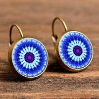 SUTEYI Henna yoga fashion earrings jewelry om symbol Zen Buddhism mandala blue flower earings handmade glass art picture earings