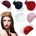 Ladies Dress Fascinator Wool Felt Pillbox Hat Party Wedding head women accessories  Bow Vei lA082