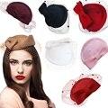 Senhoras Vestido Fascinator Wool Felt Pillbox Chapéu de Festa de Casamento mulheres cabeça acessórios Arco Vei lA082