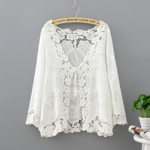 Crochet Lace Kimono Summer 2017 Fashion Holiday Lace Up Tops Women Long Sleeve Hollow Out White Blouse Beach Kimono Cardigan embroidered hollow out batwing kimono