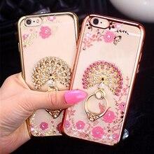 Bling Diamond Case For Samsung S5 S6 S7 Edge Note 4 5 Capa For iPhone 5S 6 6S 7 Plus Fundas Finger Ring Stand Holder Phone Cases цена 2017