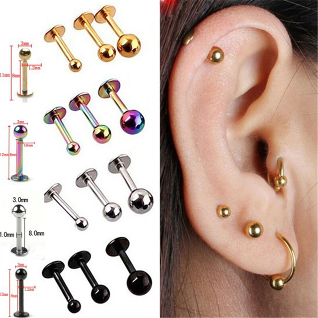 5pcs Surgical Stainless Steel Tragus Helix Bar Ball Labret Lip Cartilage Top Upper Ear Studs Earrings