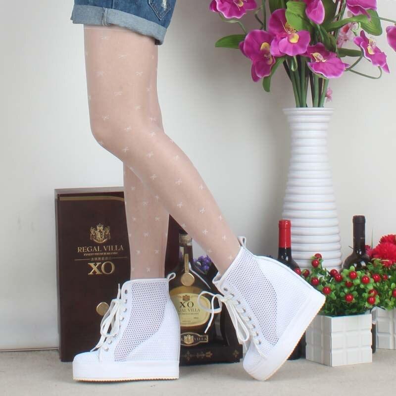 Nouveau 2017 haut à la mode haute qualité femmes été à lacets bottes solide trou hauteur augmentant femmes wedge décontracté plate-forme chaussures dame