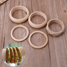 Plain Natural Unfinished Unpainted Wooden Bangle Bracelet DIY Wood Art Jewelry