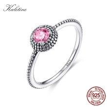 6f6eaf8285b4 KALETINE mujeres Rosa CZ anillo de cristal 925 anillos de plata concisa  gotas Vintage plata tirabuzón para mujer joyería KLTR078
