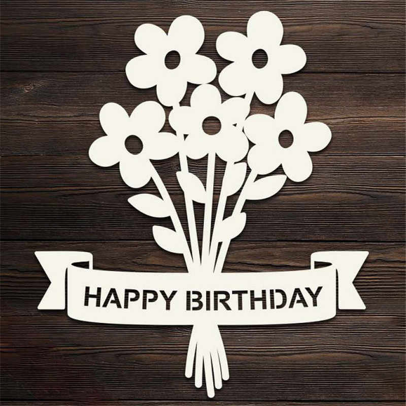 Happy Birthday Banner Flower Metal Cutting Dies for Scrapbooking New 2019 Craft Die Cut Card Making Embossing Stencil