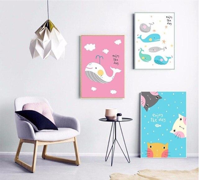 Moderno geométrico lindo gato y ballena pintura cuadros para la sala ...