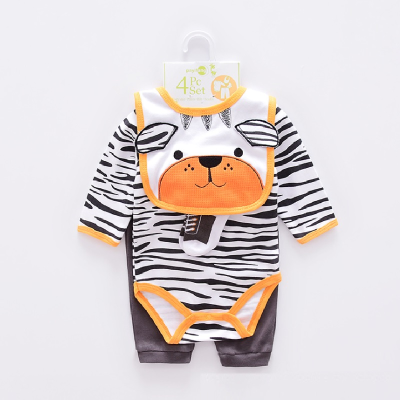 2017 Baby boy Clothes Suits 4-pieces Set baby clothing girl Bodysuit pant t-shirt sock bib 5pcs sets bebes jumpsuits newborn