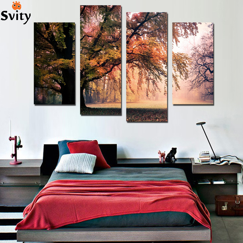 Aliexpress Com Buy 4 Panels Modern Printed Coffee Canvas: Aliexpress.com : Buy No Frame 4 Panel Modern Printed Pink