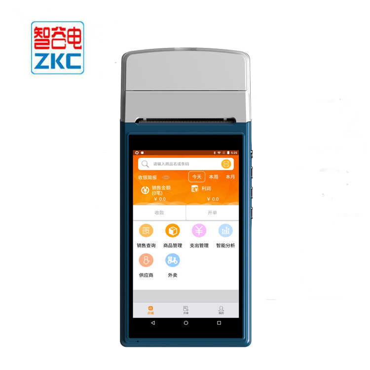 Original ZKC5501 Android mobile POS built in Bluetooth printer Barcode  scanner camera 3G WIFI NFC/RFID reader 1 SIM card slot