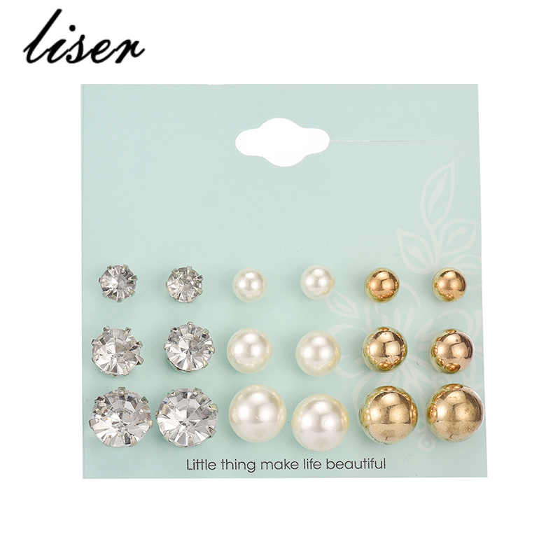 New 9 Pairs/ Set Crystal Simulated Pearl Stud Earrings Piercing Gold Color Fashion Earrings For Women Jewelry ePacket Shipping