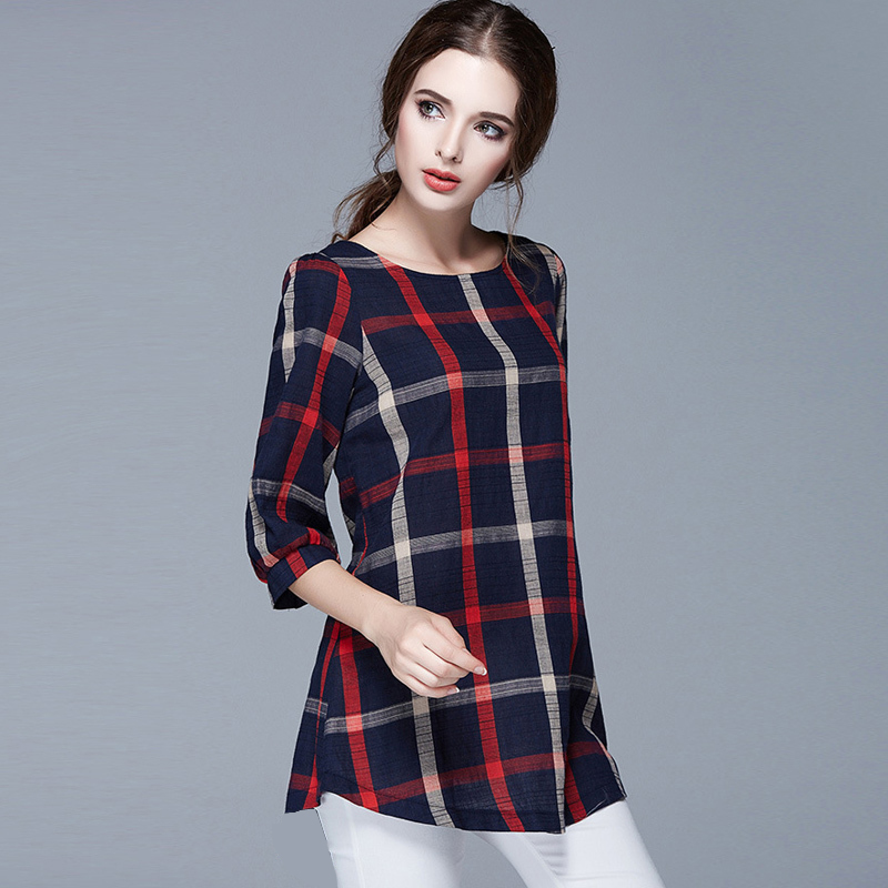 2018 Spring Autumn New Hot Plus Size Blouses Feminina Womens Plaid