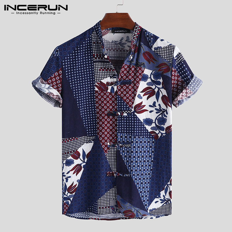 INCERUN Chinese Style Men Shirt Cotton Printing Short Sleeve Button Stand Collar Brand Shirts Men Breathable Vintage Camisa 2020