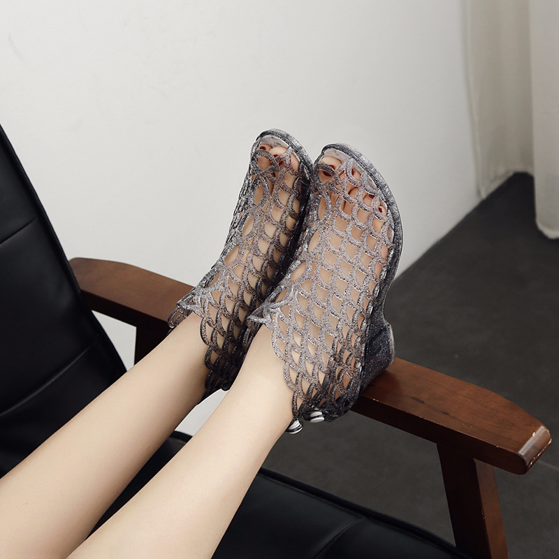 Crystal Sandals Wedge Jelly-Shoes Holes Transparent Plastic Summer High-Heeled Fish-Mouth