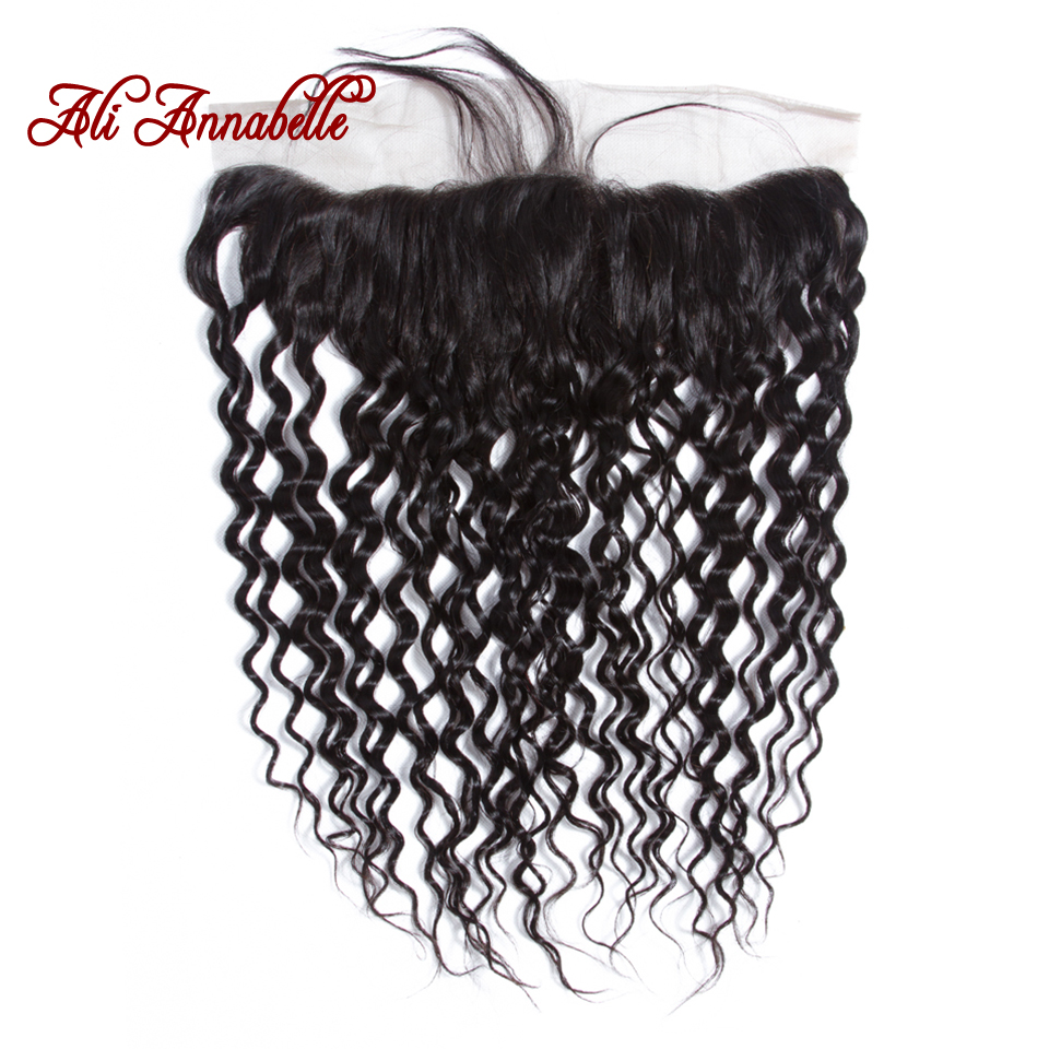 """Water Wave Ear to Ear Lace Frontal Closure 13*4 Free/Middle Part With Baby Hair 10 20"""" Brazilian Water Wave Human Remy Hair-in Closures from Hair Extensions & Wigs    1"""