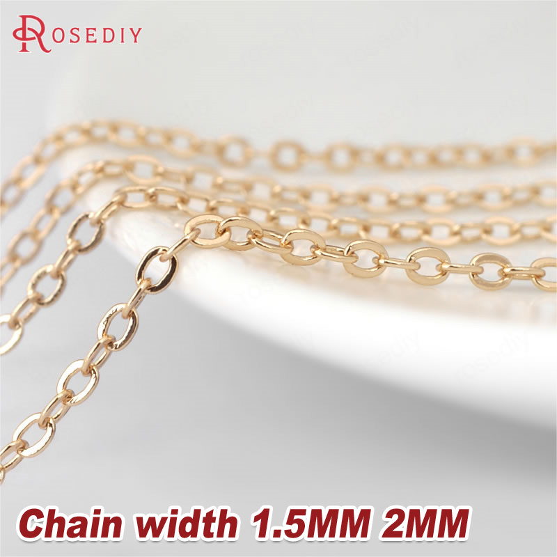 2 Meters width:1.5MM 2MM 24K Champagne Gold Color Brass Flat Oval Chains Necklace Chains High Quality Jewelry Accessories