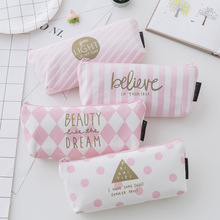 New small fresh zipper pink student pencil-case creative stationery bag wholesale