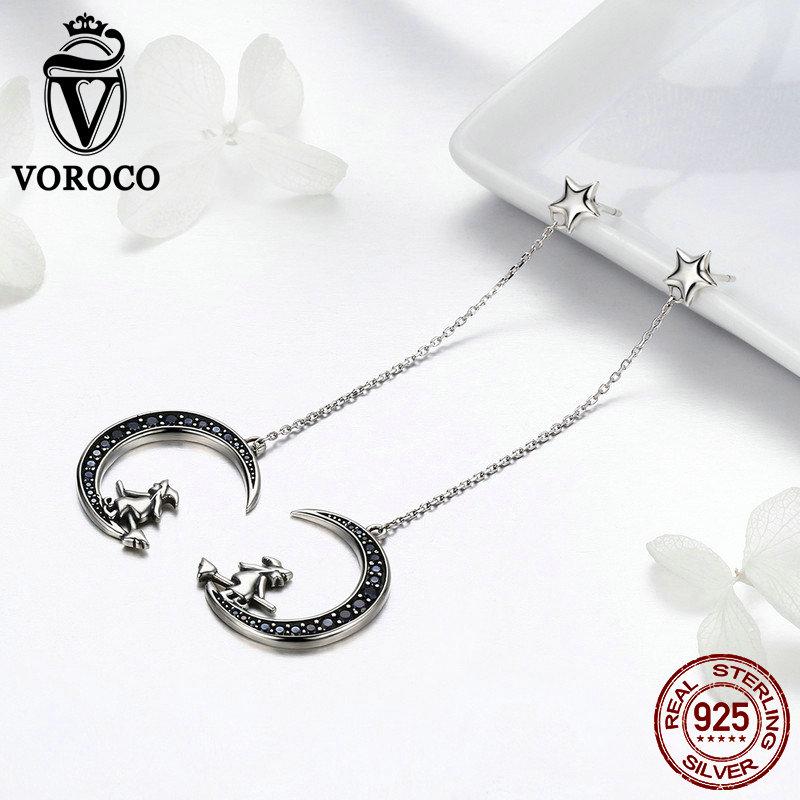 VOROCO Fashion 925 Sterling Silver Drop Earrings Witch Sit on Moon Cute CZ Earring For Women Girl Party Jewelry Gifts BKE287 in Earrings from Jewelry Accessories