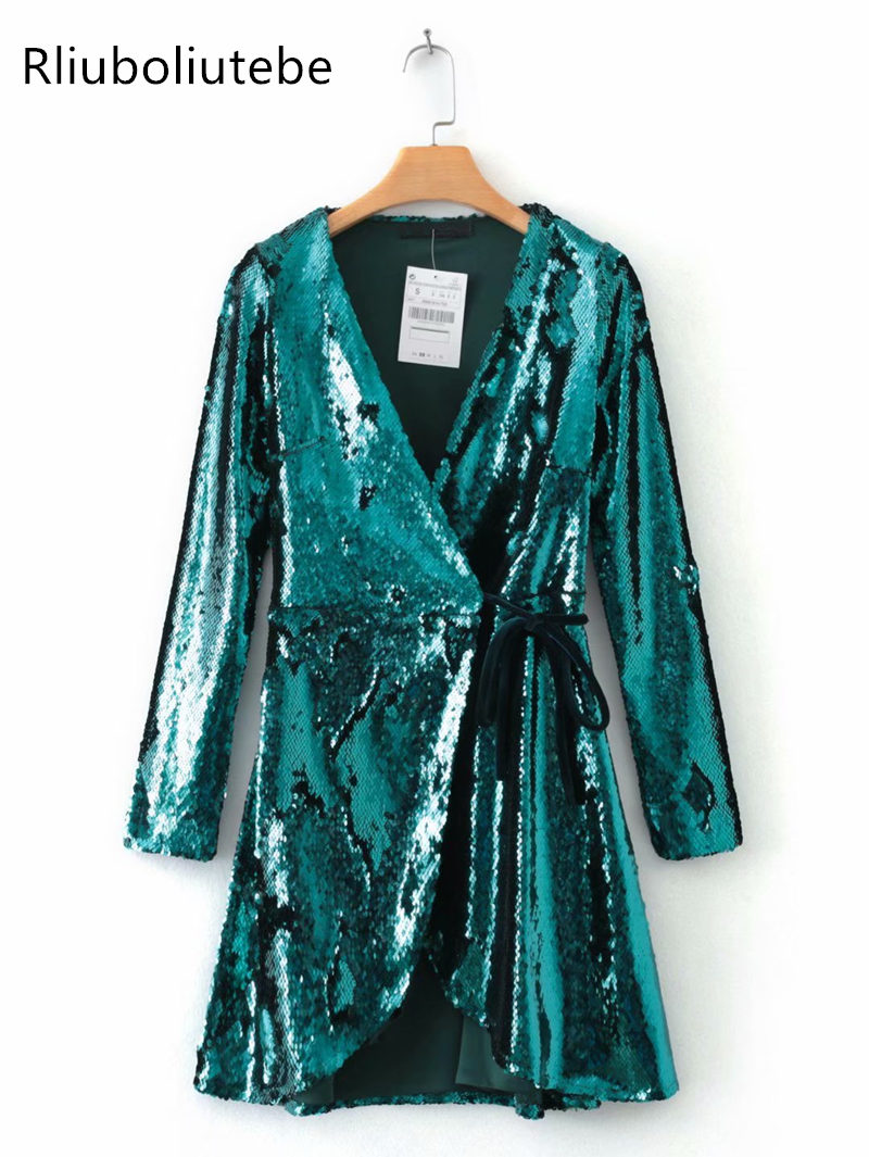 40cdd5ee08b9 Detail Feedback Questions about sexy mini sequin wrap dress women v neck  long sleeve club sexy sequined glitter green party dress vestidos mujer  clubwear on ...