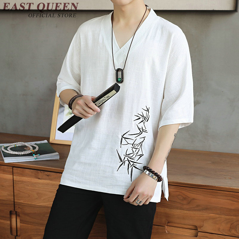 Traditional Chinese blouse shirt clothing for men top oriental mandarin collar shirt linen male kimono outfit