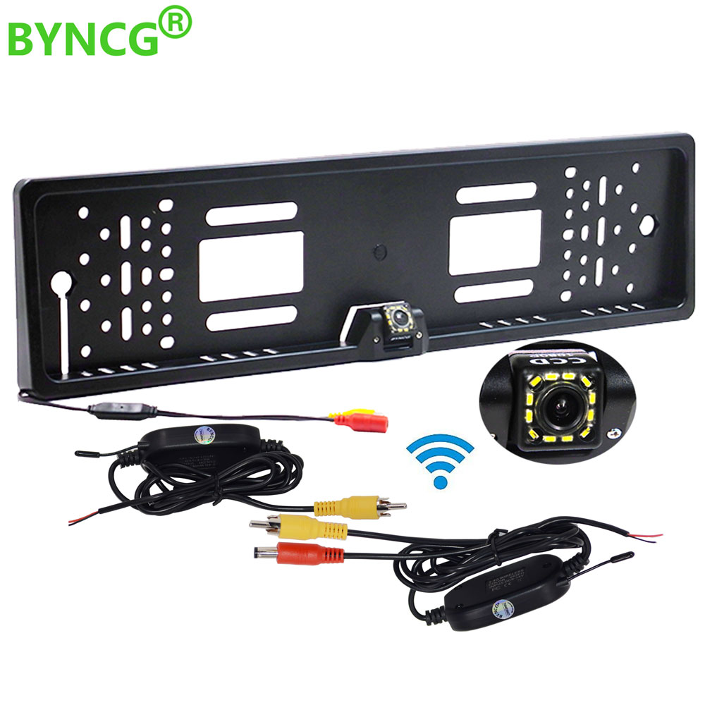 Wireless Night Vision IR Rear View Camera EU License Plate Frame Car Reverse Camera Waterproof Back Up Camera For Monitor Gps