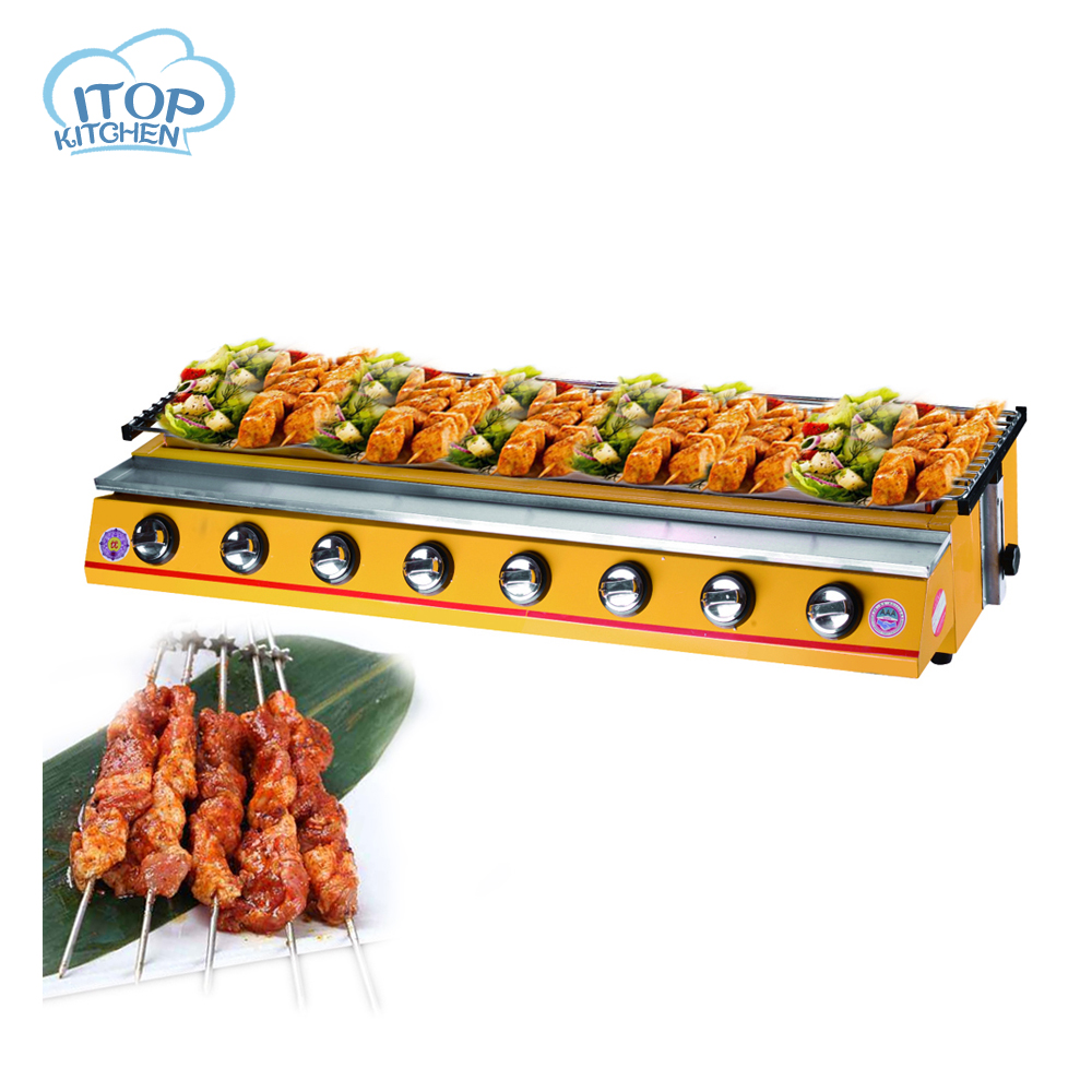 ITOP Gas BBQ Grill 8-Burner LPG 102*25cm Cooking Area Commercial Adjustable Height Stove