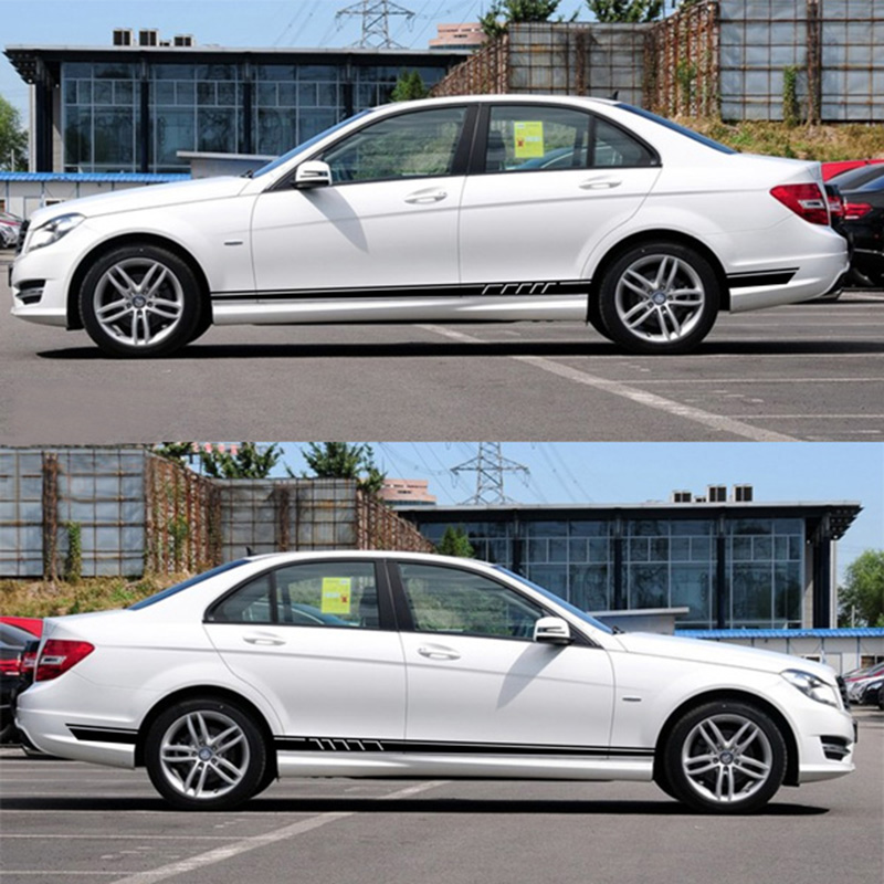 Styling Racing Door Side Stripe Skirt Sticker for Mercedes Benz Classe A B C E CLK CLS GLK ML 350 W211 W212 W213 W204 E200 W164