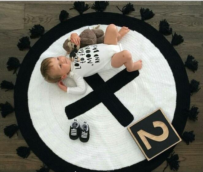 ФОТО  Baby Blanket  Black White  Exclusive Custom Handmade Swaddle Me Knitting Cross  Tassel Decorate Children Room Bedding Blanket