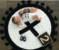 Baby Blanket  Black White  Exclusive Custom Handmade Swaddle Me Knitting Cross  Tassel Decorate Children Room Bedding Blanket