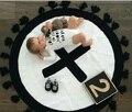 Manta de bebé Swaddle Me Cruz Tejer Borla Negro Blanco Personalizado Exclusivo Hecho A Mano Decorar Habitación de Los Niños Manta de Cama
