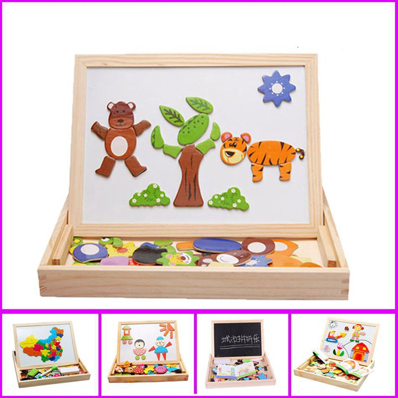 Wooden Toys Magnetic Puzzle Drawing Board Puzzle Toys Children 3D Puzzle Drawing Board Children Learning Educational Wooden Toy