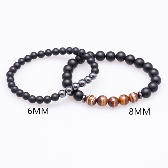 Lucky Gem Fashion Matte Striped Beads Mantra Prayer Beads Buddha 2pcs/set Bracelet for Women&Mens Hematite Pulseras Masculina 4