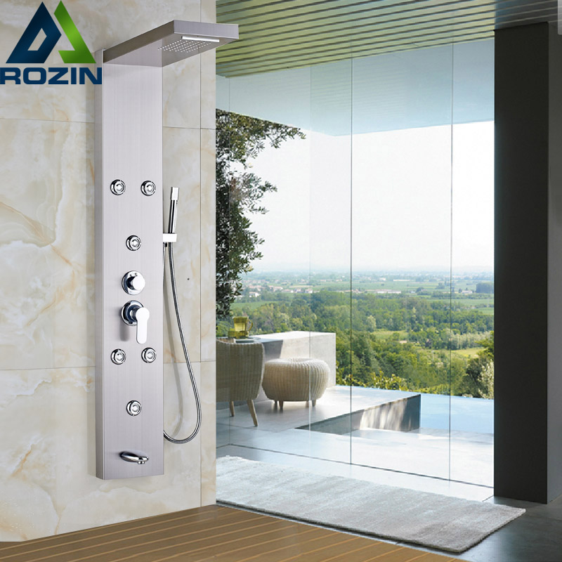 Single Handle Waterfall Rain Shower Column with Jets Sprayer Shower Panel Brushed Nickel Wall Mounted Shower Set