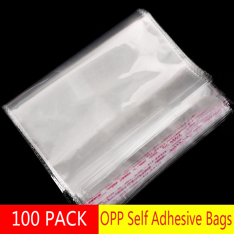 100 x 2mil Resealable Poly Bags Transparent Opp Plastic Bags Self Adhesive Seal